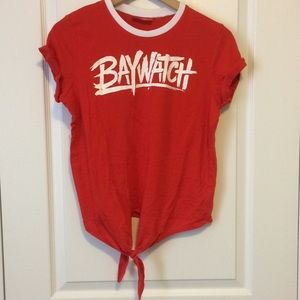 NWOT loose fit tie front red Baywatch T-shirt
